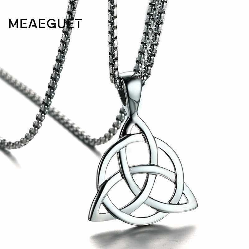 Viking Triquetra Knot Necklace For Men Silver Scandinavian Pewter Pendant Man Pewter Pendant Irish Jewelry Chains 24inch