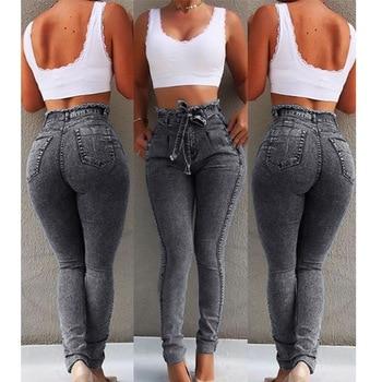 High Waist Jeans For Women Slim Stretch Denim Jean Bodycon Tassel Belt Bandage Skinny Push Up Jeans Woman 2