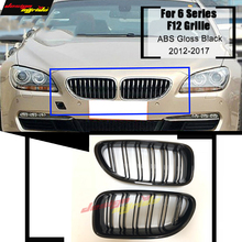 1 Pair F12 Front Grille ABS Gloss Black For F06 M6 Fronr Mesh Grills 640i 640d 650i 650d 2-Slats Kidney 12-17