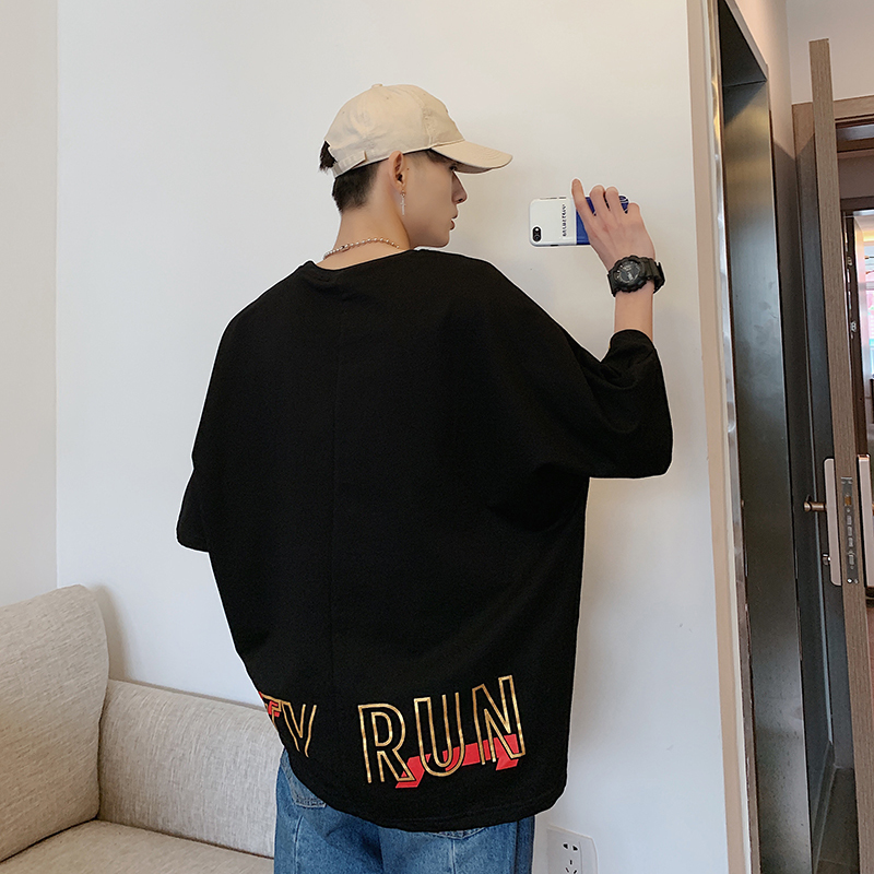 Men 39 s T shirt 2019 Summer New Hong Kong Style Loose Round Neck Pullover Five point Sleeve Handsome Youth Casual Men 39 s Clothing in T Shirts from Men 39 s Clothing
