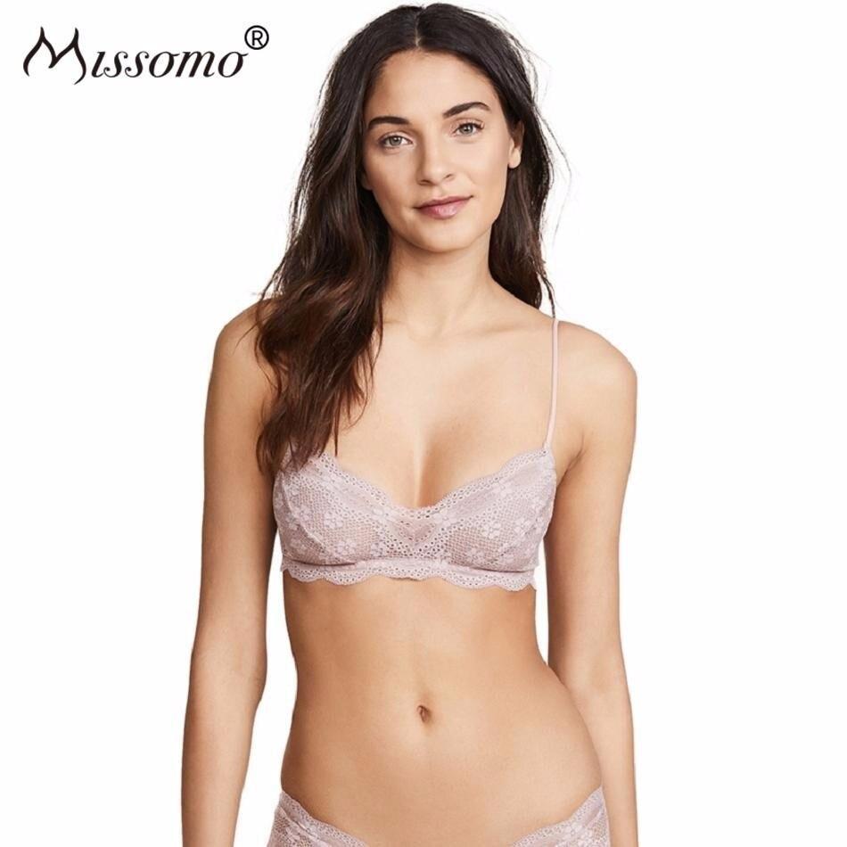 Missomo Lace Women Bra Sexy Soft Simple Scallop Translucent Stretch Vintage Casual Ladies Lingerie
