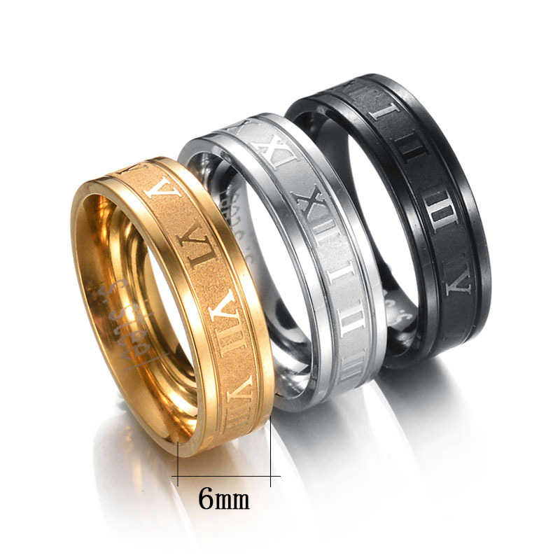 Hot 6mm Roman Numerals Gold-Color Black Men Women Ring 316L Stainless Steel Couple Rings Drop Shipping