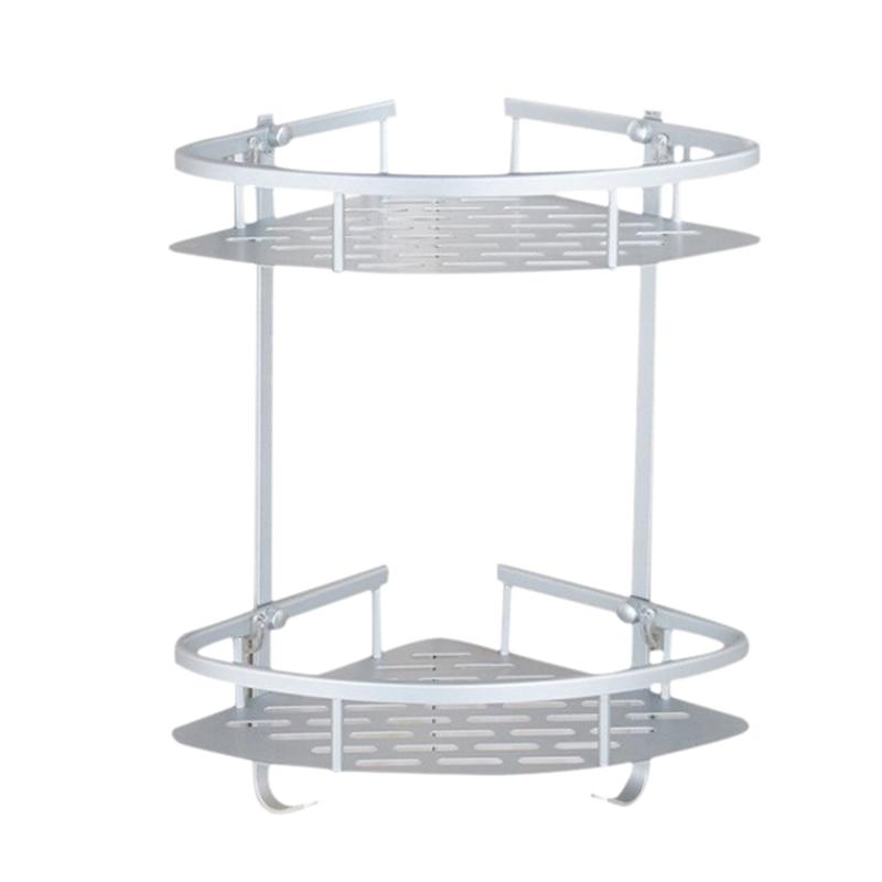 No Drilling Bathroom Kitchen Corner Shelves Aluminum 2 Tier Shower Shelf Caddy Adhesive Storage Basket For Shampoo