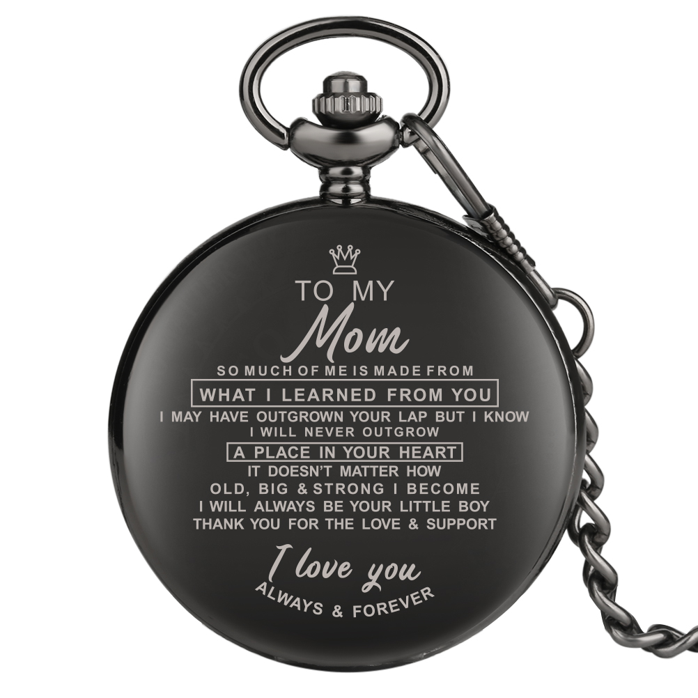 Pocket Watches Engraved Words To My Dad My Mum My Son Special Pocket Watch Necklace Pendant Clock Significant Gift Dropshipping