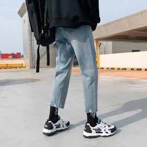 Image 3 - 2020 koreański styl męska przywrócić otwory dorywczo spodnie fala Baggy Homme klasyczne mycia dżinsy jasnoniebieski kolor Biker Denim