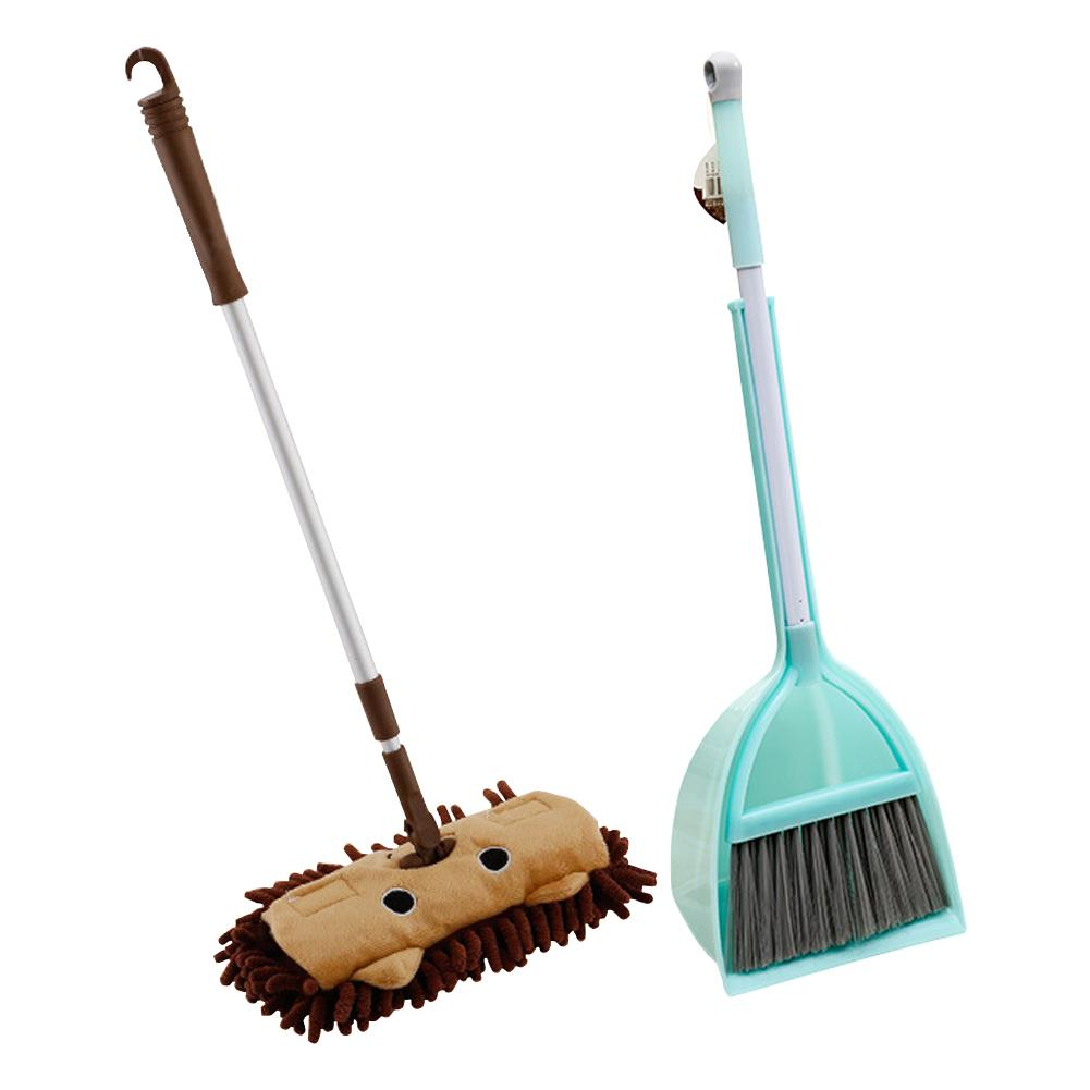 Baby Mini House Sweeping Cleaning Toy Combination Child Mop Broom Dustpan Set Telescopic Flat Mop Housework Toy For Children