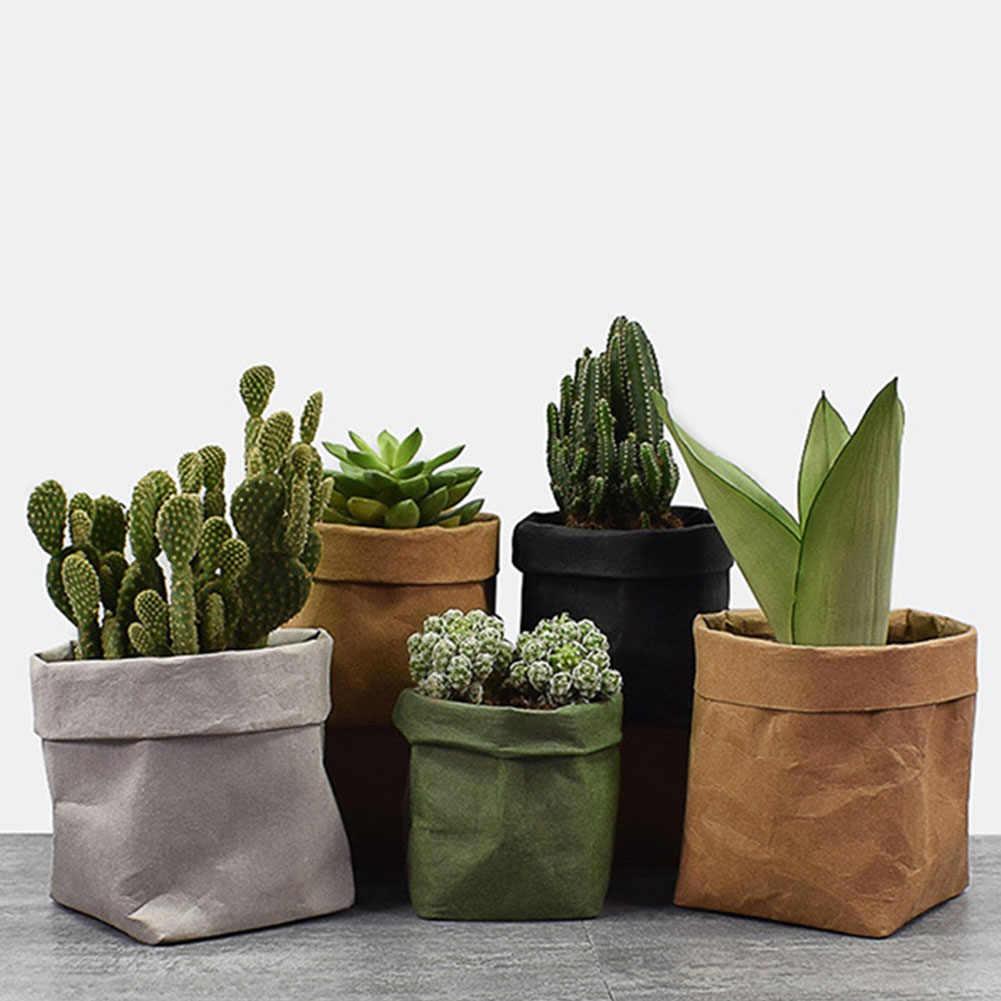 Mini suculentas plantador pote de papel kraft lavável vaso de flores criativo desktop potes de flores reutilizáveis multifuncional saco de armazenamento em casa