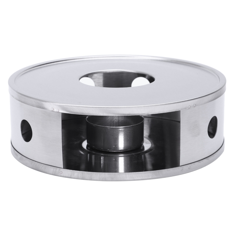 Candle Base Heater Silver Round Coffee Teapot Warmer Trivets Stainless Steel Dish Practical