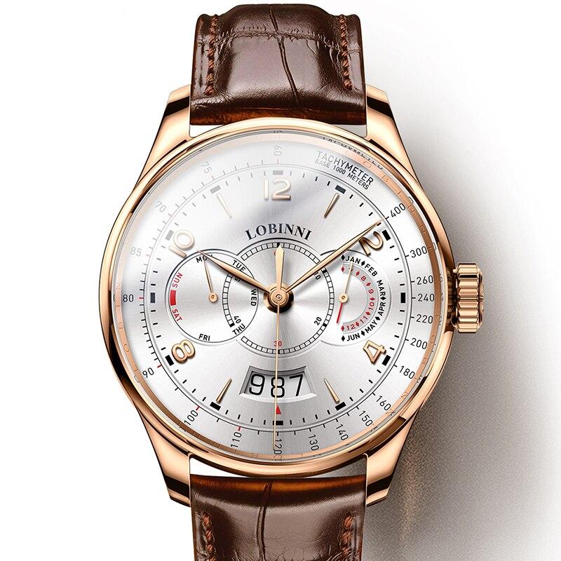 Szwajcaria LOBINNI mężczyźni zegarki luksusowe marka zegarka kobiet Sapphire relogio japonia Miyota 9122 automatyczny ruch mechaniczny L16013 1 w Zegarki mechaniczne od Zegarki na  Grupa 1