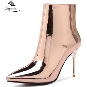 Sgesvier Silver Patent Leather Ankle Boots High Heels Boots Women Winter Shoes Female Pointed Toe Botas Woman Winter Boots B969