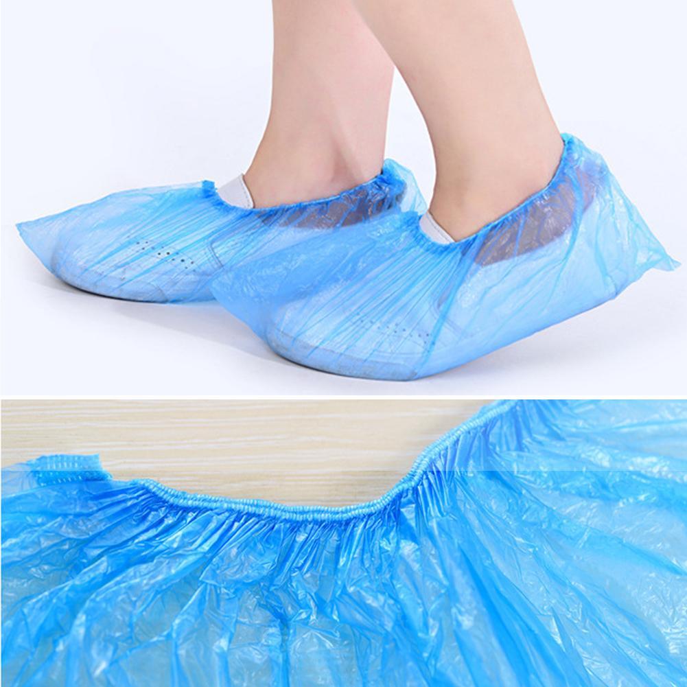 100pcs Overshoe Blue Plastic Cleaning Disposable Carpet Shoe Covers Elastic