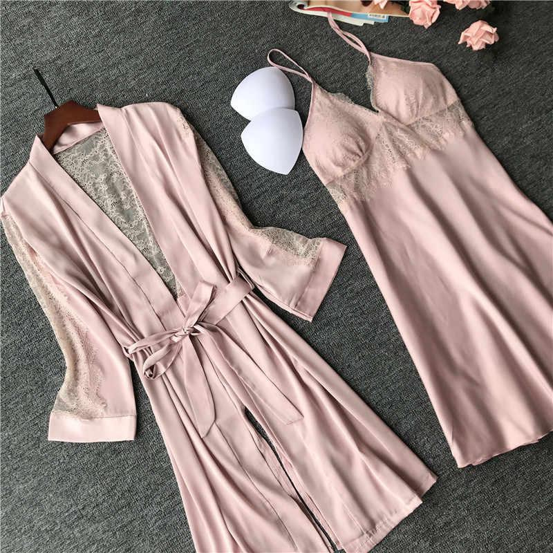2019 kadın bornoz elbisesi setleri seksi dantel uyku salonu Pijama uzun kollu bayan kıyafeti bornoz gece elbisesi göğüs yastıkları ile