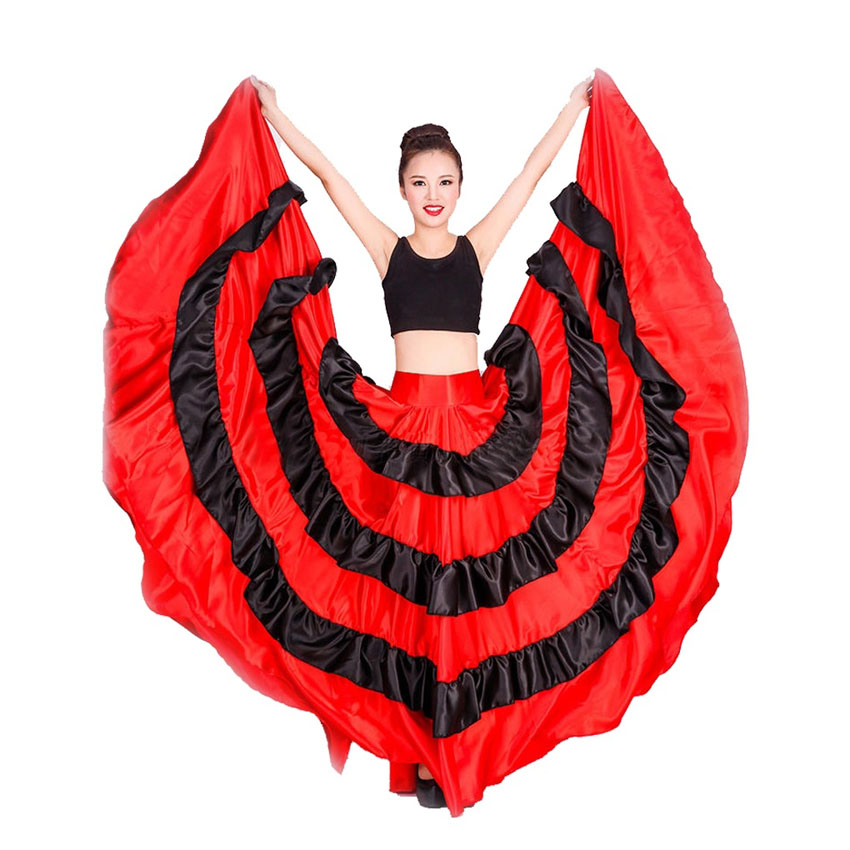 Woman Belly Dance 360/540/720 Degree Circle Big Swing Flamenco Skirt Costume Spanish Dances Bullfight Stage Wear Skirt