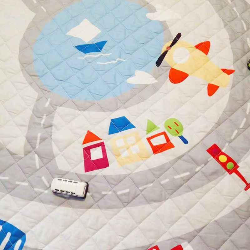 Круглый коврик детский игровой коврик органайзер для хранения игрушек, коврики для детской Большой полиэстер Противоскользящий мультфильм животных Детский напольный коврик игровой коврик
