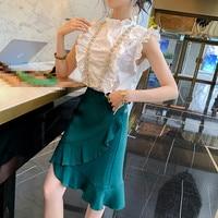Comelsexy 2019 New Summer Two Piece Set Women's Sleeveless White Shirt Sweet Beaded Ruffle Blouse +irregular Fishtail Skirt Suit