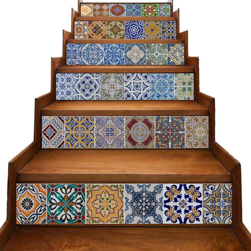 - Peel And Stick Tile Backsplash Stair Riser Decals DIY Tile Decals