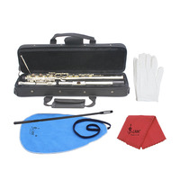 SLADE 16 Hole Flute Western Concert C Key Cupronickel Flute Instrument Musical Instruments Professional + Cleaning Cloth +Gloves