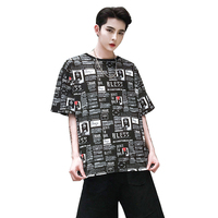 Spring and summer trend full print pattern short t male country tide brand short sleeved loose bedroom clothing t shirt