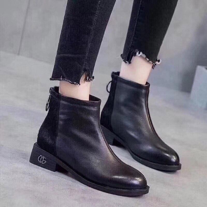 Bottes Martin fermeture eclair dos femme bottes Chelsea épingle a cheveux cheval bottes femme chaussures cuir véritable femme