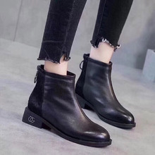 Martin Boots Womens Back Zipper Chelsea Horse Hairpin Genuine Leather shoes woman