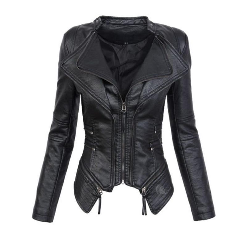 Biker Short Sexy Rock Ladies Leather Jackets Women Autumn Fashion Jacket Motorcycle Jaqueta Black Faux Punk Gothic Winter Coats Coat 4BOq5BR