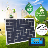20W 12V/5V Double USB interface Four heads Monocrystalline solar panel For Battery Cell Phone Chargers Cigarette Lighter