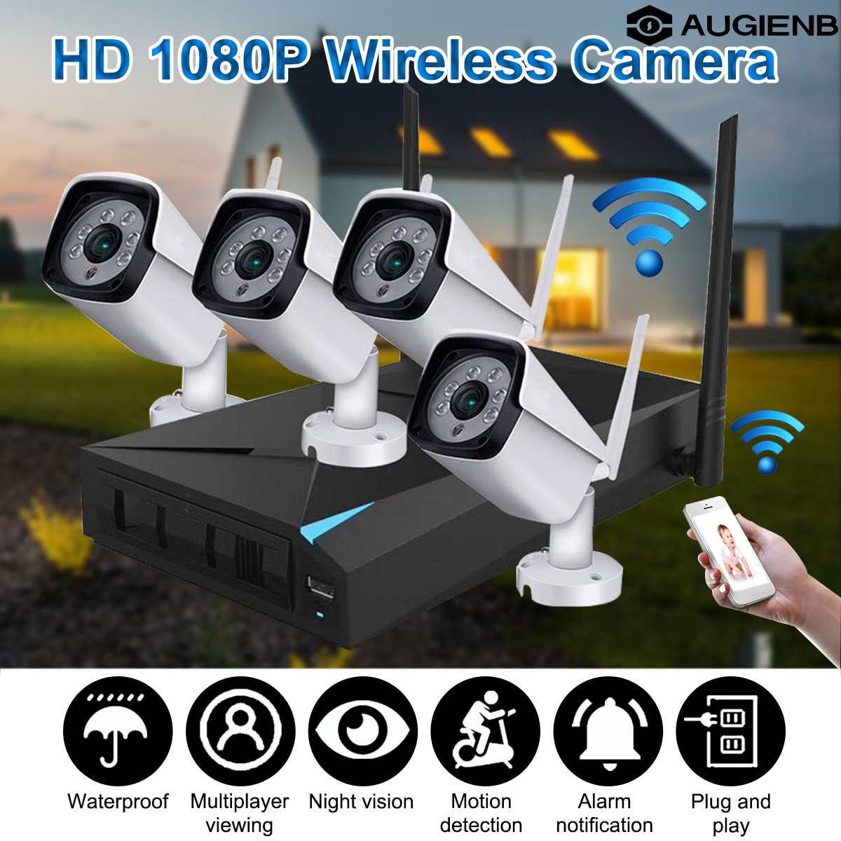 1080P Wireless Security Camera System, 4CH NVR WiFi IP Cameras, CCTV Video Surveillance System Kit Plug & Play, Motion Detection