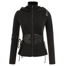 Spring Fall jacket coat Women ladies gothic ethnic style rock Steampunk Polyurethane Leather & Lacing Decorated Hooded Coat tops