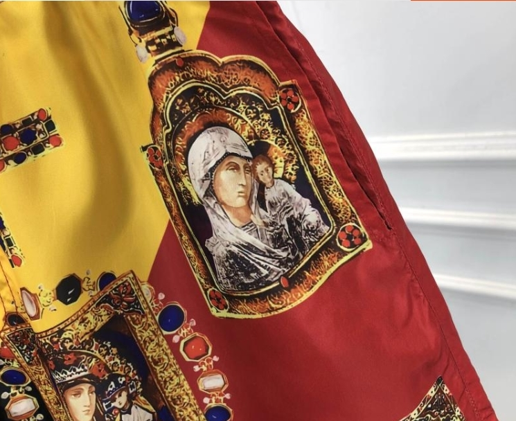 2019 Nova Marca de Moda Designer Homens Pranchinha Curto Praia Swim Curto Plus Size Tema Religião Impressão - 3