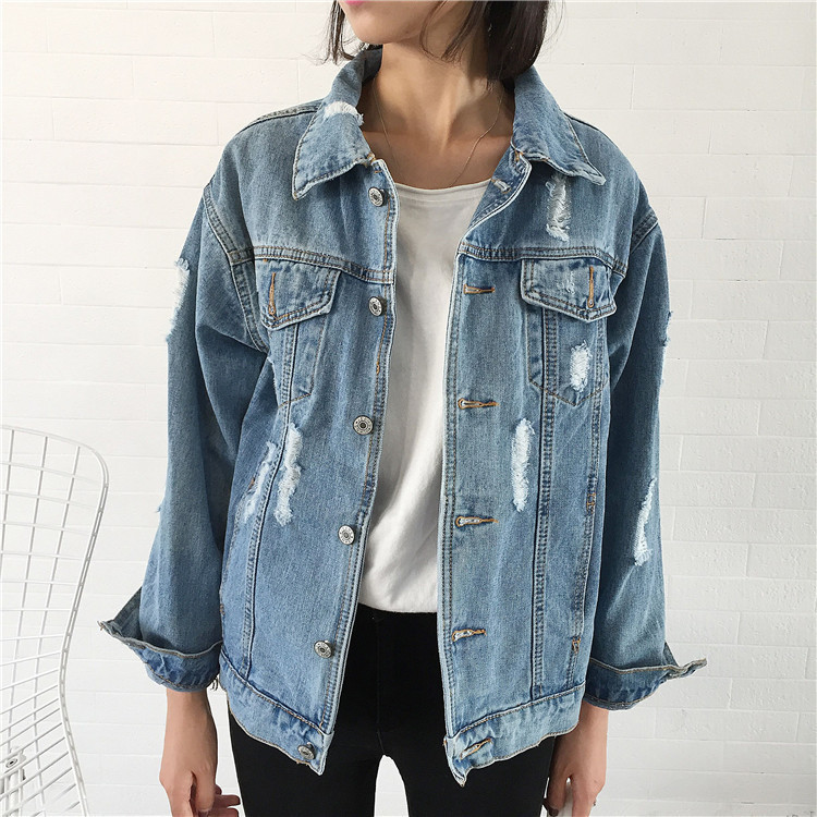Women's   Basic   Pearl Hole   Jacket   Bomber Denim Harajuku Outwear 2019 New Arrival Spring Loose Leisure Street Style   Basic     Jacket