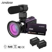 Andoer 4K 1080P 48MP WiFi dijital Video kamera kamera kaydedici ile 2 adet şarj edilebilir piller yılbaşı yeni yıl hediye