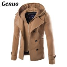 Genuo Wool Coat Men Fashion Patchwork Sweater Blend Double Breasted Pea Jacket Winter Hooded Overcoats Windbreaker