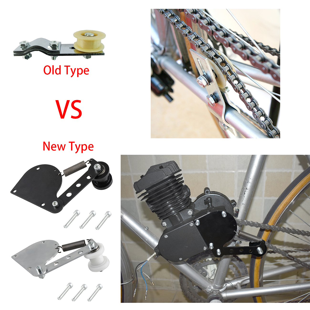 CNC BLACK CHAIN TENSION FOR 49cc 66cc 80cc Engine Motorized Bike