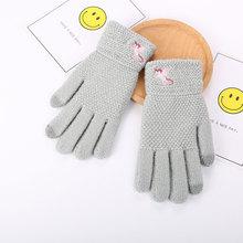 Осенние и зимние женские вязаные теплые перчатки трикотажные зимние уличные перчатки с сенсорным экраном Единорог вышитые перчатки