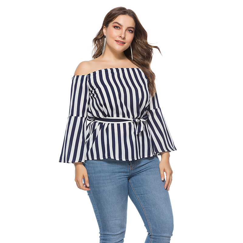 Womens Large Size Blue Striped Blouse Summer Shirts Elegant Sexy Off Shoulder Slash Neck Flare Sleeve Tops For Lady 2019 5XL 6XL