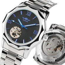 WINNER Men Automatic Watches Top Luxury Brand Man Classic Stainless Steel Self Wind Skeleton Mechanical Watch Fashion Male Clock winner men mechanical wrist watch stainless steel strap skeleton roman number automatic self wind golden top brand luxury watch