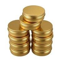 10Pcs Latas Parafuso Top Recipientes de Alumínio Rodada Latas Latas de Viagens De Armazenamento Jar Latas de Latas de Alimentos Recipientes Com Tampas  ouro