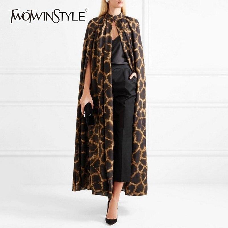 Deuxtwinstyle femme Cardigan manteau O cou cape manches imprimé léopard Maxi capots pour les femmes 2019 automne Vintage mode marée