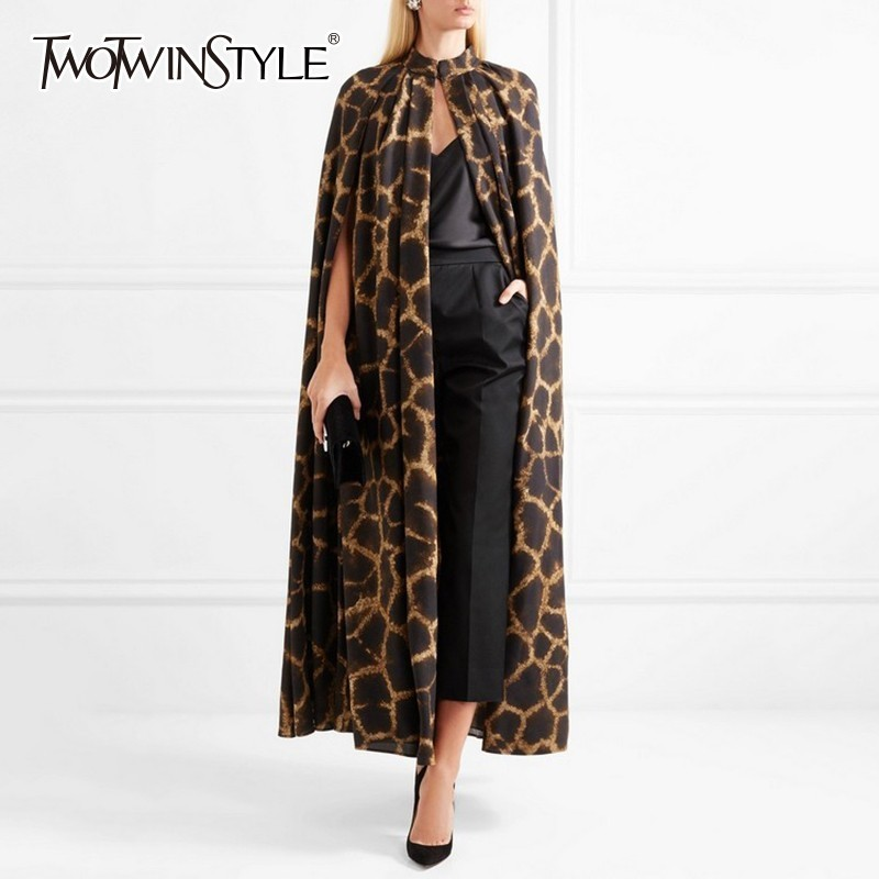 TWOTWINSTYLE Female Cardigan Coat O Neck Cloak Sleeve Print Leopard Maxi Cloaks For Women 2020 Autumn Vintage Fashion Tide