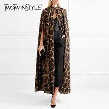 TWOTWINSTYLE נשי קרדיגן מעיל O צוואר גלימת שרוול הדפסת Leopard מקסי גלימות עבור נשים 2019 סתיו בציר אופנה גאות