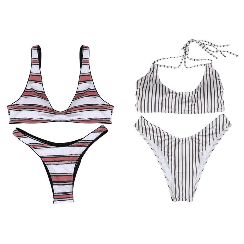 2019 <font><b>Sexy</b></font> <font><b>Bikini</b></font> Set Women Striped Swimsuit Swimwear Two-Pieces Bathing Suit biquinis feminino 2019 <font><b>brasileiro</b></font> muje tanga image