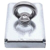 1Pc 75*55*15Mm Neodymium Iron Boron Block Magnet With Circular Eyebolt Rings For Salvage ( Steel Case)
