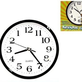 US $27 06 |NEW BACKWARDS WALL CLOCK funny novelty time clocks decor weird  running novelties-in Wall Clocks from Home & Garden on Aliexpress com |