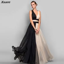 2018 Top Selling Full Dress V-Neck Sleeveless Champagne And Black Dresses Long Criss-Cross Cheap Party Xnxee