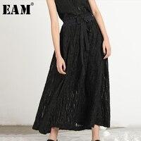 [EAM] 2019 New Spring Summer High Elastic Waist Black perspective bandage brief Half body Skirt Women Fashion Tide JR333