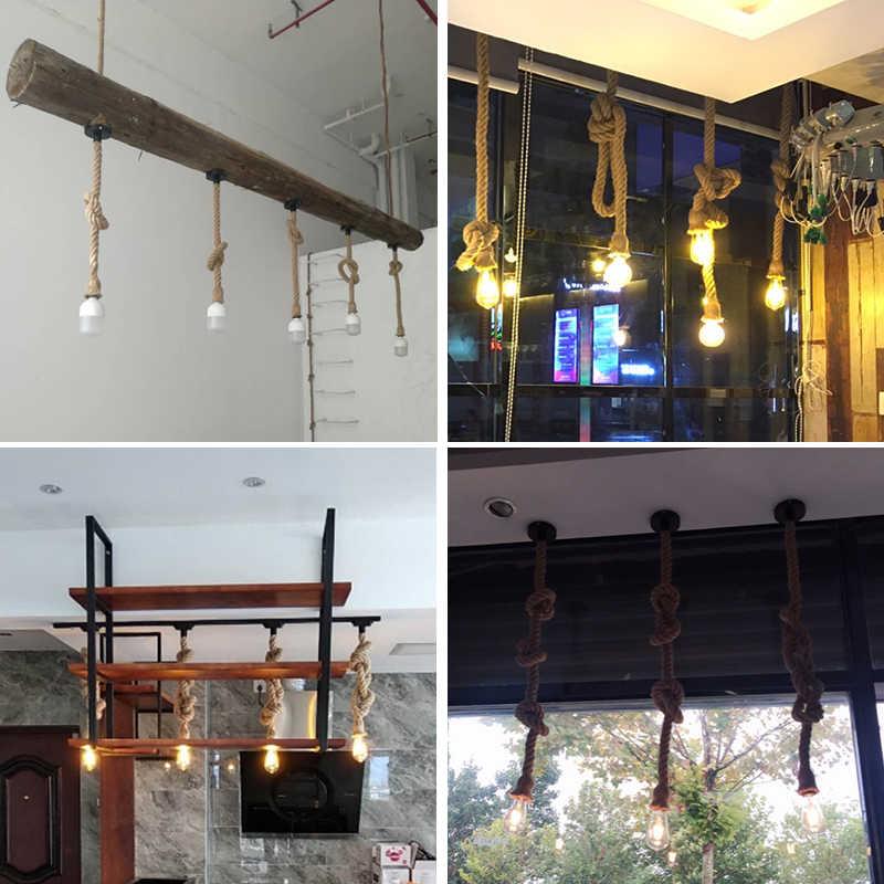 Пеньковая веревка подвесной светильник американский стиль винтаж промышленный Ретро подвесной светильник для Кофе Ресторан домашний Лофт украшения освещение