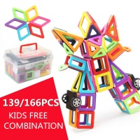 3D Bricks 139/166PCS Magnetic Building Blocks Tiles Educational Toy Set Kids Gifts Building Construction Model Toys Accessories
