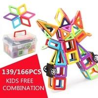 3D Bricks 139/166PCS Magnetic Building Blocks Tiles Educational Toy Set Kids Gifts Building Construction Model Toys Accessories