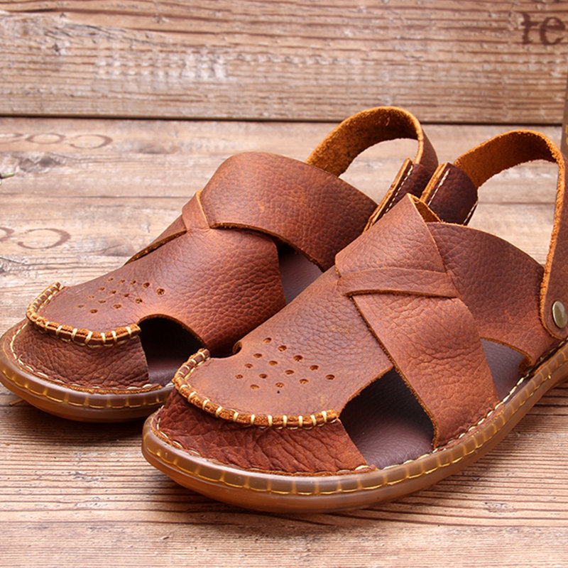 New Summer Close Toe Man Sandals Full Grain Leather Wear In Two Ways Slides Casual Slipper Shoes Nonslip TPR Outsole in Men 39 s Sandals from Shoes