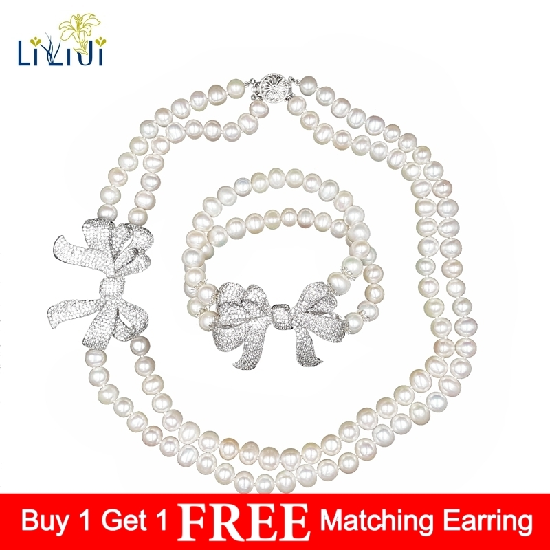 Lii Ji High Luster Real Freshwater Pearl 8-9mm 2 Rows Elegant Jewelry Set For Women Wedding Pearl Jewelry 2017 elegant 8 9mm white freshwater aaaa pearl necklace 45cm bread round high luster women pearl pendant
